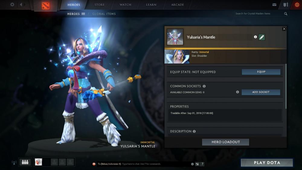 Crystal Maiden Dota 2 Immortals: Jual Yulsaria's Mantle (Immortal TI7 Crystal Maiden) Game
