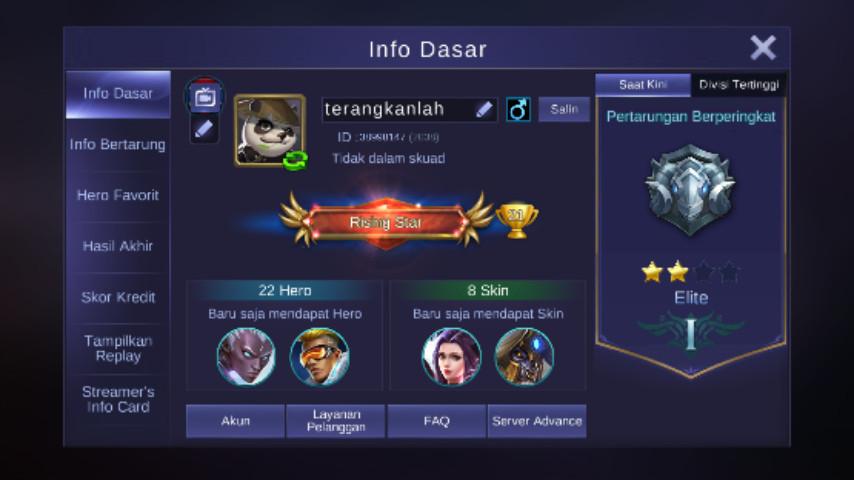 Level 30/hero 22/skin 8 bisa tambah skin langka