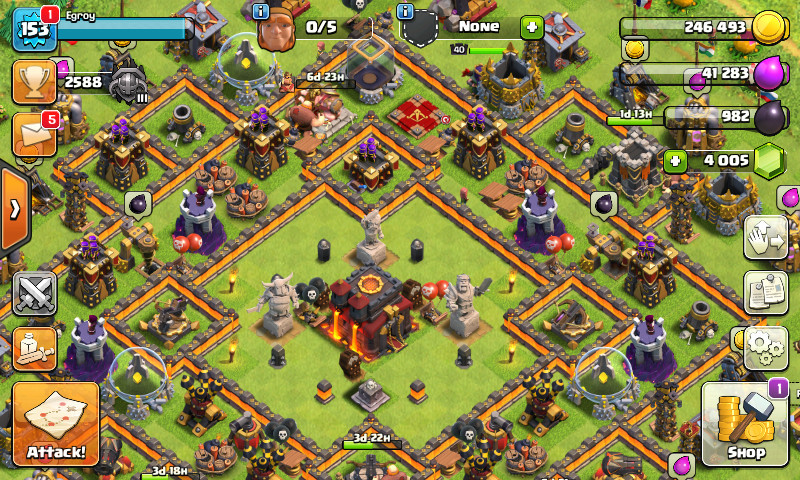 JUAL CLASH OF CLANS TOWN HALL 10 ALL MAX AMAN SHOP