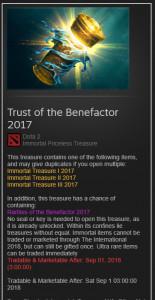 Trust of the Benefactor 2017 (Treasure)