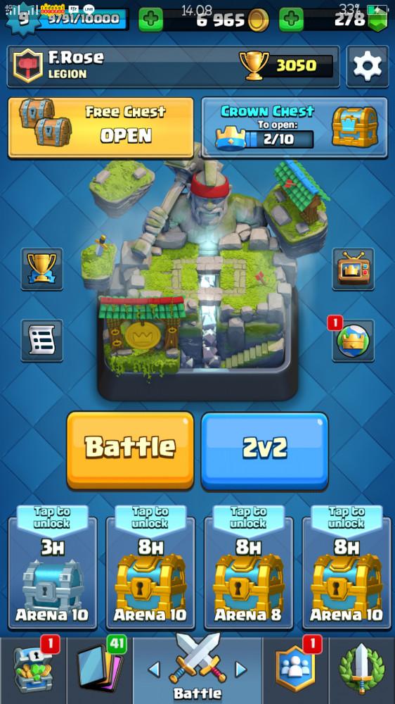 Akun clash royale level 9 legend 10 arena hog