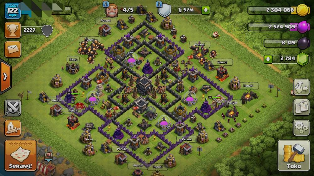 Town Hall 9 | Gems 2k++ | Deff Max | Cn On | Murah