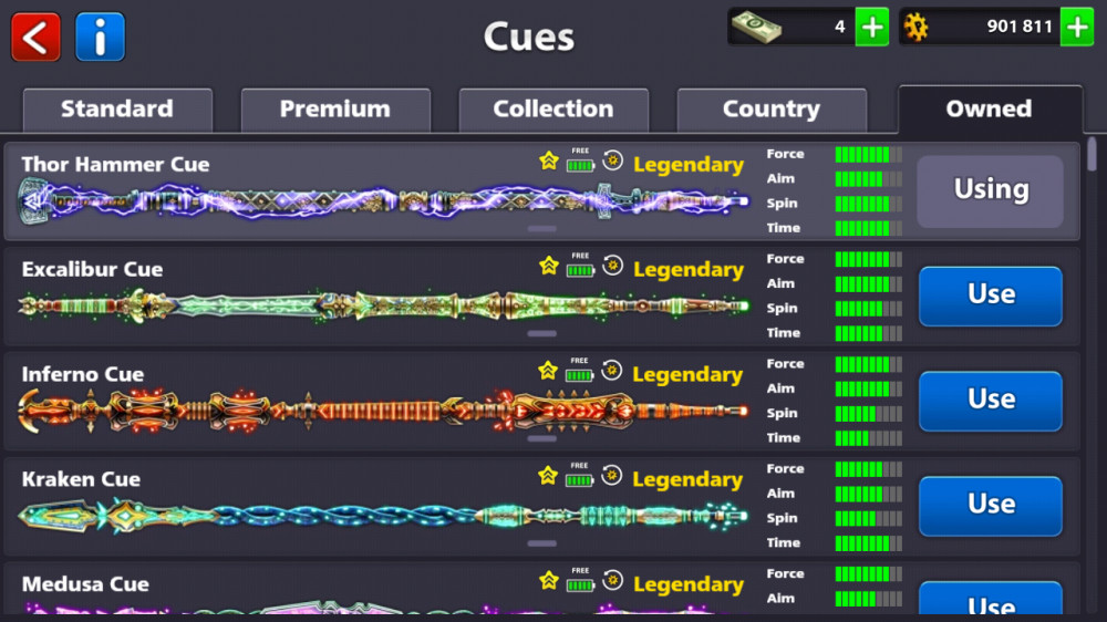 7 legendary cue, tier gold, lvl 167, pool emperor