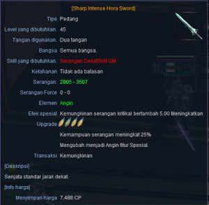 Sharp Intense Hora Sword LVL 45 +4 ACCRETIA